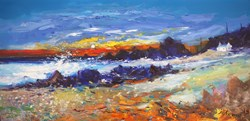 Stormy Breakers Putechan Kintyre by John Lowrie Morrison - Original Painting on Stretched Canvas sized 32x16 inches. Available from Whitewall Galleries